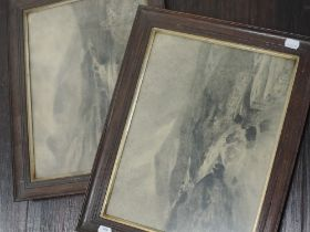 A pair of charcoal sketches, HJM, river landscapes, monogrammed, 27 x 36cm, framed and glazed