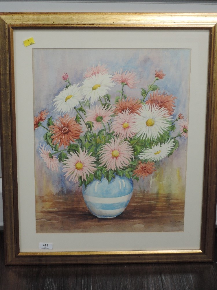 A watercolour, Albert Jump, still life, signed, 49 x 39cm, framed and glazed