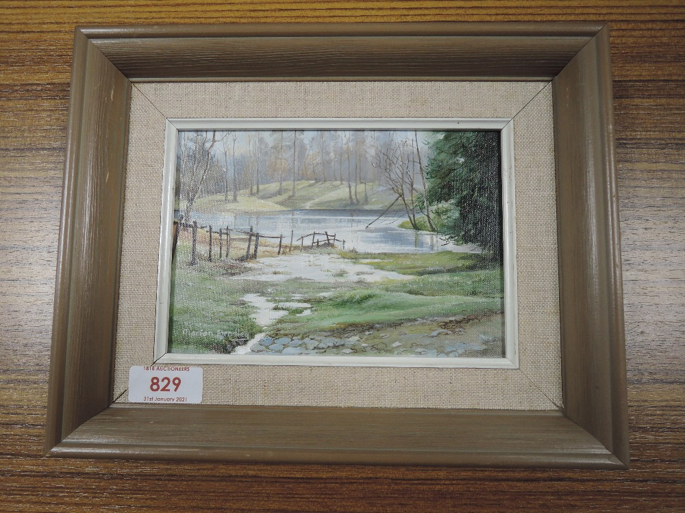An oil painting on board, Marion Bradley, woodland tarn, signed, 11 x 16cm, framed