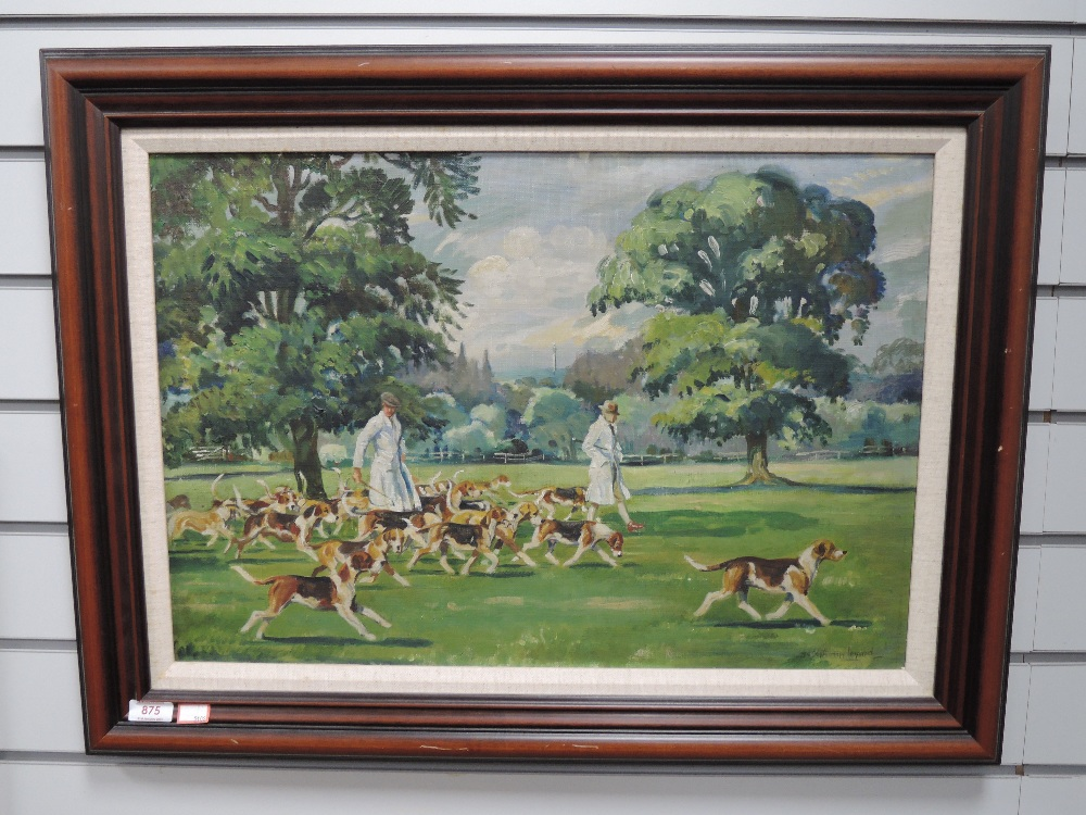 An oil on board, Joseph Appleyard, Hounds in the Park, signed and attributed verso, 40 x 59cm,