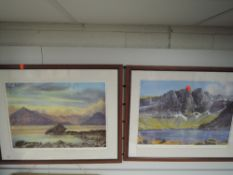 A pair of prints, after Neil J Barlow, Beinn Eighe, and The Cuillin, 30 x 53cm, framed and glazed