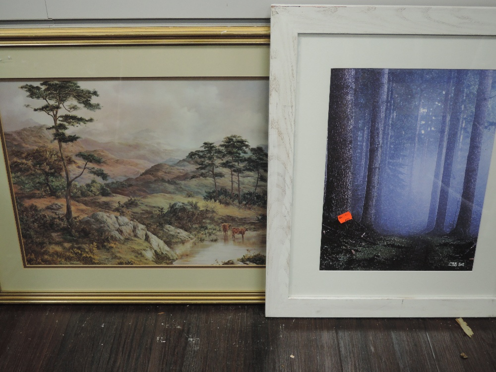 A print after GBB, trees, 42 x 31cm, framed and glazed, and a print, highland cattle, 39 x 54cm,
