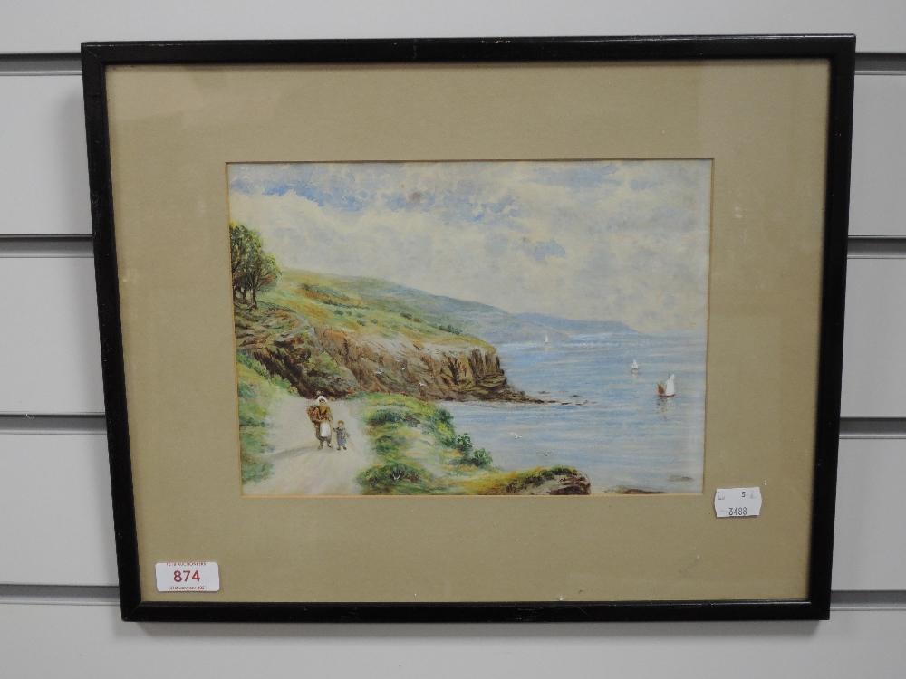 A watercolour, coastal path, early 20th, 18 x 25cm, framed and glazed