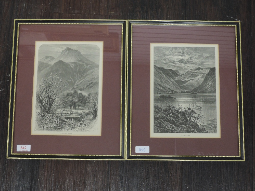Two engravings, after Whympers, Ulleswater and Langdale Pikes, from Picturesque Europe