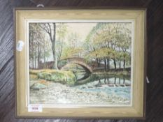 An oil painting on board, Lakeland river bridge, Neil Taylor, signed, 20 x 30cm, framed