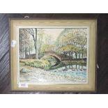An oil painting on board, Lakeland river bridge, Neil Taylor, signed, 20 x 30cm, framed