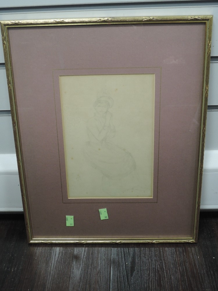 A pencil sketch, CR, lady in 18th century dress, monogrammed, 25 x 17cm, framed and glazed