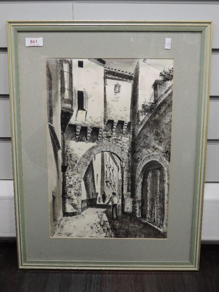 A print, after, Diaz, street scene, 39 x 26cm, framed and glazed