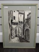 A print, after, Diaz, street scene, 39 x 26cm, framed and glazed