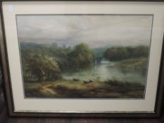 A watercolour, G Richardson, river landscape, presumed Durham,19th century, signed and dated 1882,