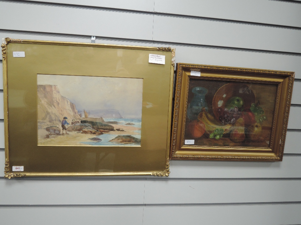 A watercolour, F Hargreaves, coastal landscape, signed, 24 x 35cm, framed and glazed, and an oil
