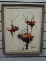 An oil painting on board, stylised boats, 44 x 33cm, framed