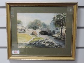 A watercolour, K Lund, Monks Bridge Malham, 17 x 23cm, framed and glazed