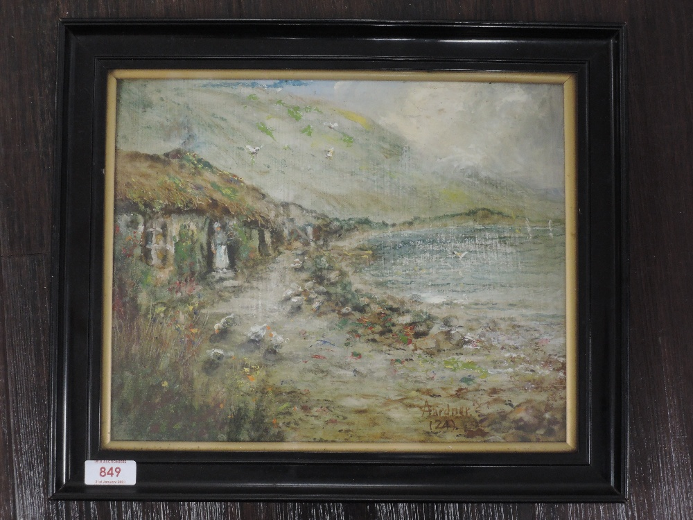An oil painting, A Gardner, Cottage by the Loch, signed and dated (19)24, and attributed verso, 25 x