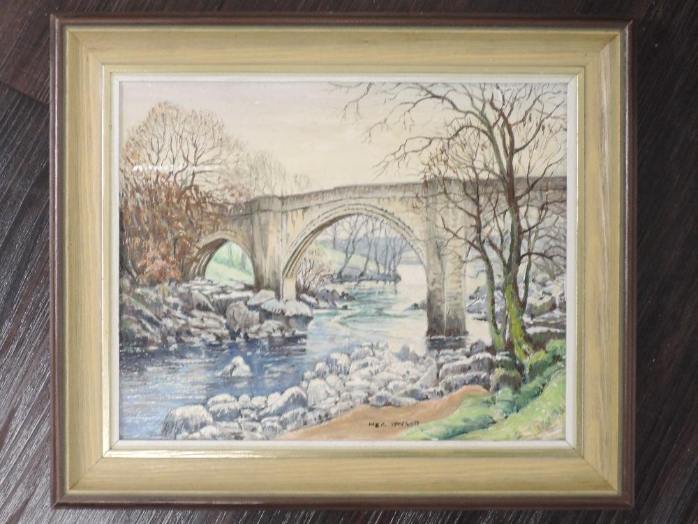 An oil painting on board, Neil Taylor, Devil's Bridge Kirkby Lonsdale, signed, 20 x 25cm, framed