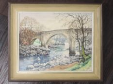 An oil painting on board, Neil Taylor, Devil's Bridge Kirkby Lonsdale, signed, 20 x 25cm, framed