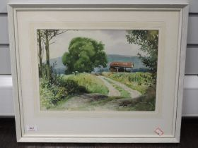 A watercolour, Geoffrey H Pooley, country barn, signed and dated 1971, 25 x 35cm, framed and glazed