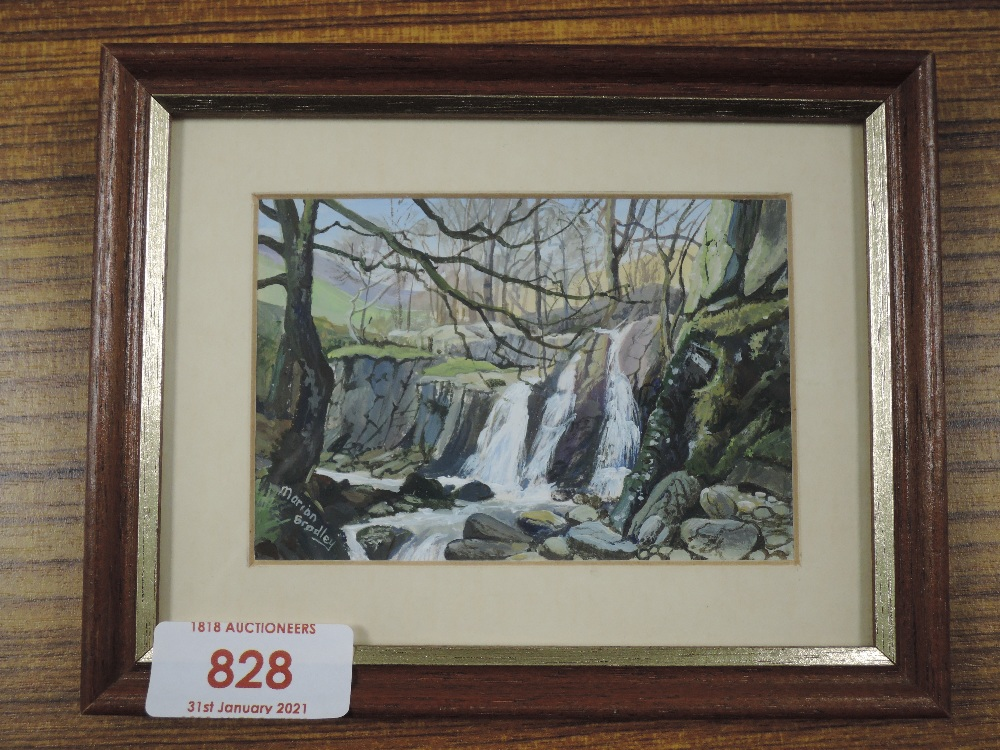 An acrylic painting, Marion Bradley, Mill Gill Langdale, signed 7 x 10cm, framed and glazed