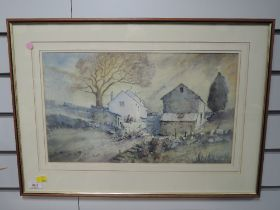 A watercolour, Alan Collister, Building on Kirkby Moor, signed and attributed verso, 27 x 46cm,