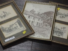 A sketch, F Hodgson, George Romney's cottage, Kendal, signed, 34 x 24cm, framed and glazed, and four