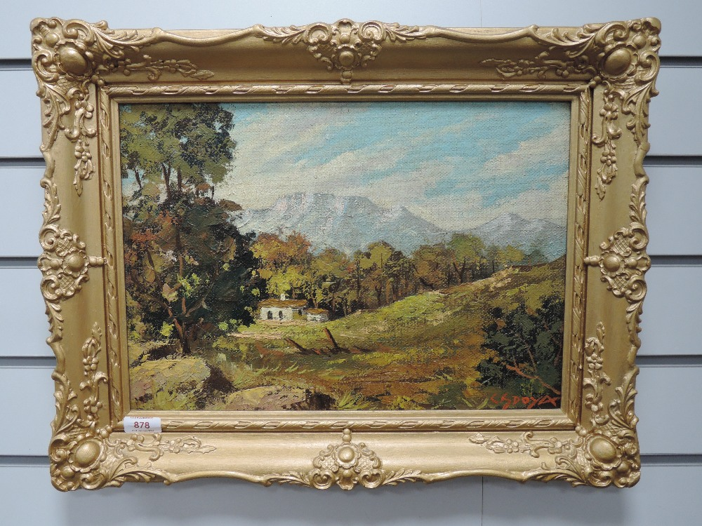 An oil painting on board, Doya, Near Fransch Hoeer Cape, signed and attributed verso, 29 x 41cm,