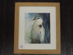 A watercolour, Sally T Kindness, heron, signed, 22 x 18cm, framed and glazed