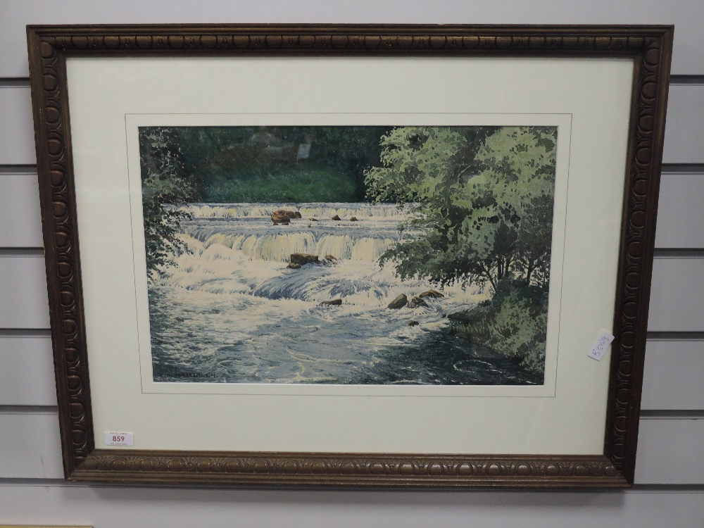 A watercolour, James Ingham Riley, Aysgarth falls, signed, 30 x 47cm, framed and glazed