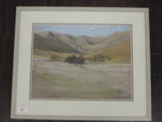 A pastel sketch, Mary Yates, Riggendale and Mardale, monogrammed and attributed verso, 27 x 36cm,