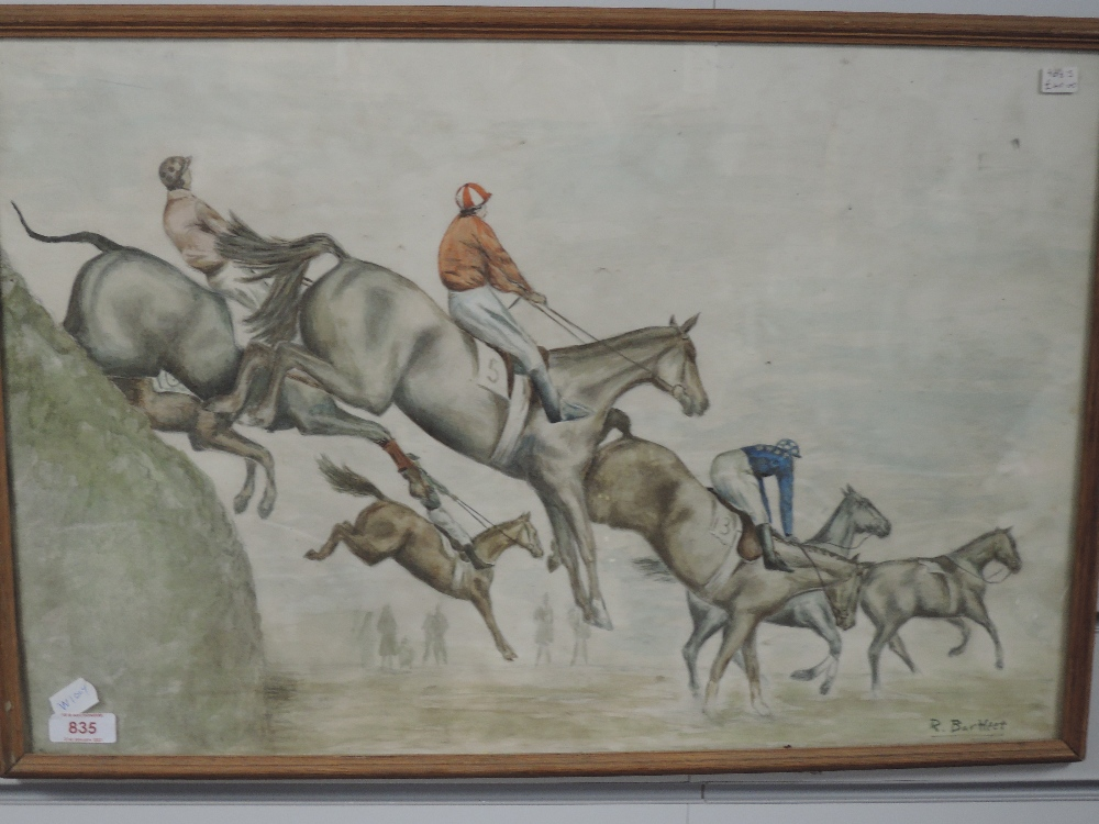 A watercolour, R Bartleet, steeple chase, signed 38 x 56cm, framed and glazed