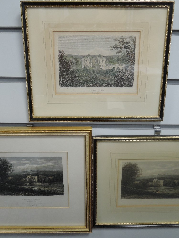 Three engravings, after Dayes and Cox, Furness Abbey, 19th century, each approx 14 x 16cm, framed