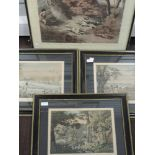 Three prints after Havell, hunting interest, 24 x 33cm, framed and glazed, and a similar