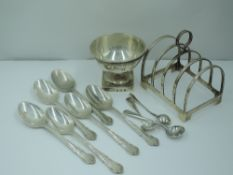 A small silver 4 slice toast rack of plain arched form, Birmingham 1931, Deakin & Francis, a set