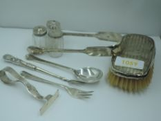 A small selection of HM silver and white metal including clothes brush, glass pepperettes and