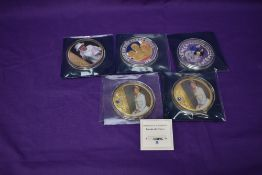 Five Royalty Large Medallions, approx 7.6cm, Diana x2, Queen Elizabeth, The Three Kings and Duke and