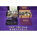 A UK coin collection including three year sets 1970 x2 & 1971, uncirculated £1, along with world