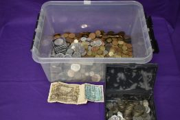 A large collection of mainly GB Coins, copper, brass & silver, approx 15 ounces of pre 1947 silver