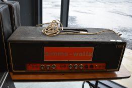 A vintage Simms-Watts 100 valve amplifier head