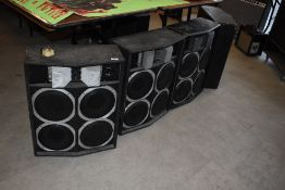 Two pairs of Black Dwarf loaded speaker cabinets