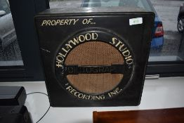 A Dictograph speaker cabinet hand painted with Hollywood studio Recording