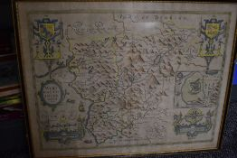 Antiquarian Maps. North Wales. John Speed - Merionethshire. Later colouring, framed and glazed.