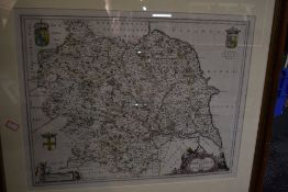 Antiquarian Map. [Blaeu] - Ducatus Eboracensis Anglice Yorkshire. Later outline colouring, with