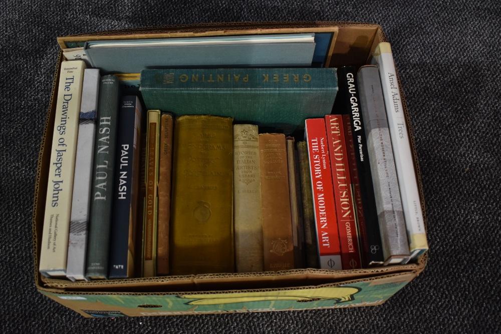 Art and related. A carton. Includes; Paul Nash; Ansel Adams; Mario Arlati; etc. (22)