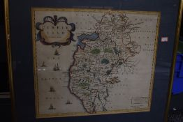 Antiquarian Maps. Robert Morden - Cumberland. Later colouring, framed and glazed. With; John