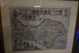Antiquarian Map. [Blaeu] - Ducatus Eboracensis Pars Borealis/The North Riding of Yorkshire. Later