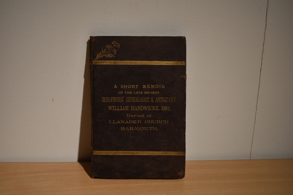 Presentation copy. Smith, Hubert - A Short Memoir of the Late Eminent Shropshire Genealogist and