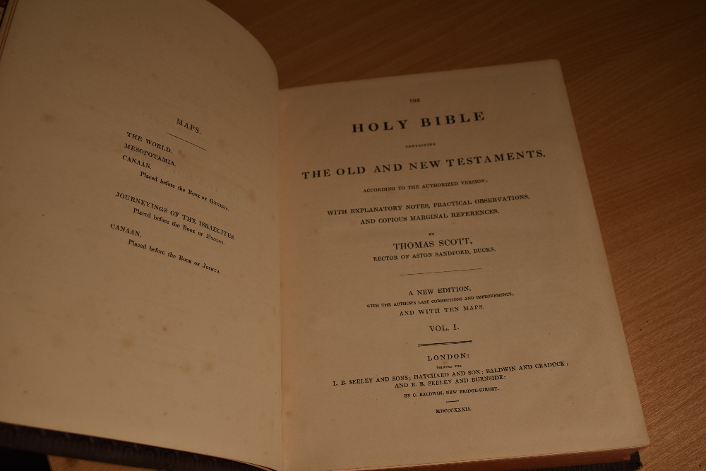 Religion. Scott, Thomas - Commentary on The Holy Bible. London: 1832. Six volumes, with maps. - Image 3 of 3