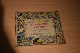 Children's. A Harlequin Picture Book. 15 Nursery Rhymes with drawings by Clarke Hutton. London: