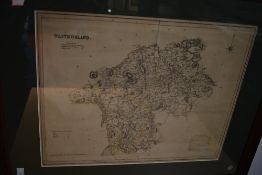 Antiquarian Map. T. L. Murray - Westmorland. 1832. With faint outline colour, framed and glazed. (