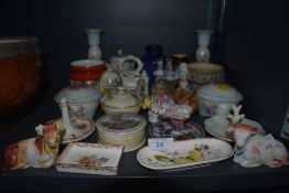 A selection of display cabinet ceramics inclduing Victorian farrings Coalport Masons and hard