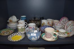 A selection of ceramics including a good selection of antique tea saucers including Royal